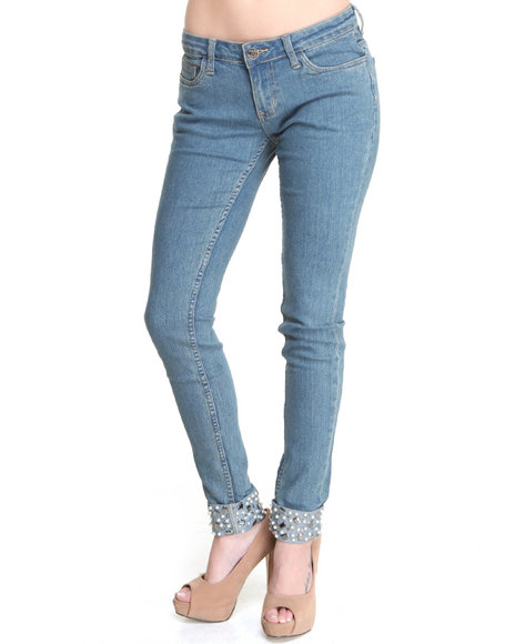 Basic Essentials - Women Blue Jewled Cuff Skinny Jean Pants