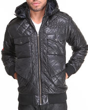 Outerwear - Atomic Peace Quilted Bomber Jacket w/ Hood