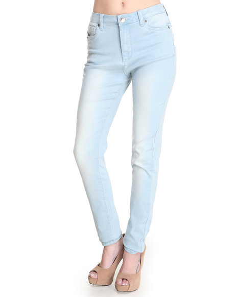 Basic Essentials - Women Light Blue High Waisted Black Marble Wash Skinny Jean