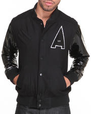 Outerwear - Established Shine Varsity Jacket w/ Patent Leather Sleeves
