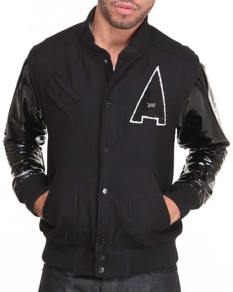Well Established - Men Black Established Shine Varsity Jacket W/ Patent Leather Sleeves