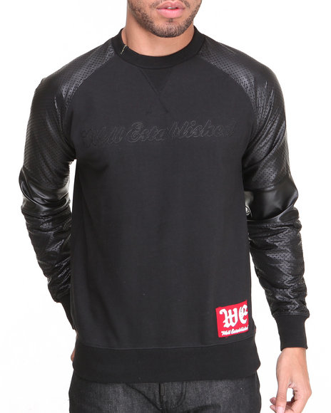 Well Established - Men Black Don't Fade Away Logo Crew W/ Vegan Leather Sleeves