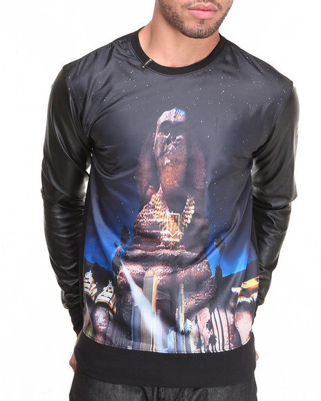 Well Established - Men Black Sphinx Riddle Crew Sweatshirt W/ Vegan Leather Sleeves