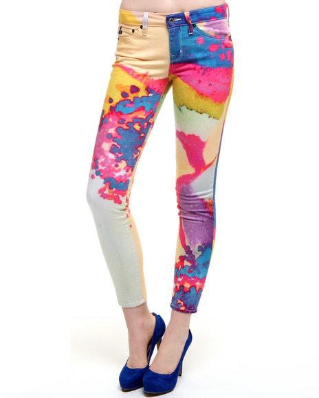 Djp Outlet - Women Multi Big Star Alex Mid Rise Surreal Color Burst Denim Print