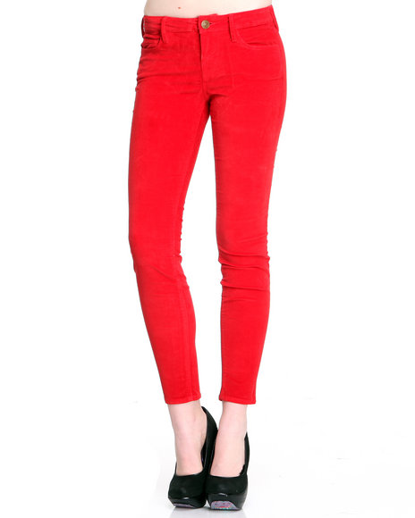 Djp Outlet - Women Red Halle Stretch Velvet Skinny Legging Pant