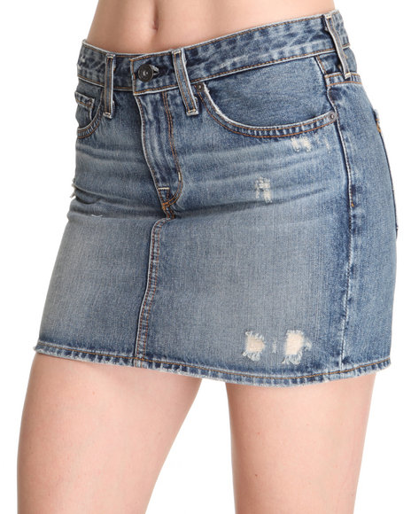Djp Outlet - Women Medium Wash Big Star Courtney Distressed Denim Mini Skirt