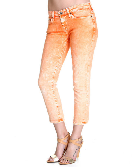 DJP OUTLET - Women Orange Big Star Remy Crop Lana Washed Denim Pants