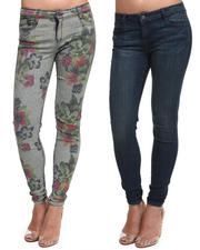Women - BleuLab Reversible Caribbean Floral 8 Pocket Denim Jeggings
