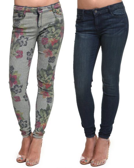 Djp Outlet - Women Multi Bleulab Reversible Caribbean Floral 8 Pocket Denim Jeggings
