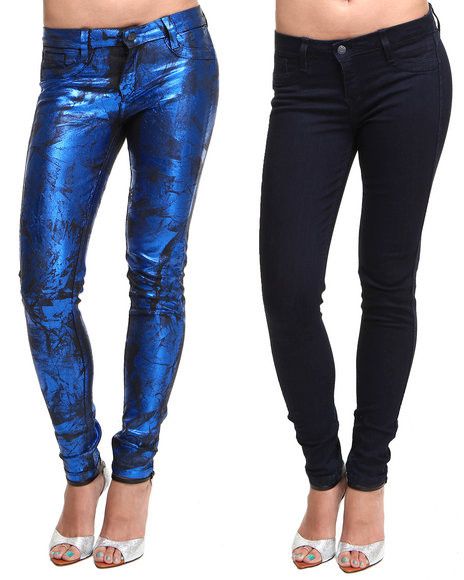 Djp Outlet - Women Blue Bleulab Reversible Royal Cracked Foil Denim Jeggings