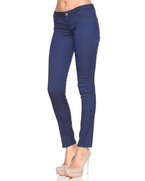 Djp Outlet - Women Blue Reverse Denim Skinny Jean Pants