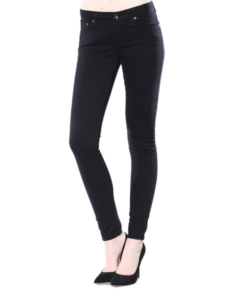 Djp Outlet - Women Black Big Star Alex Mid Rise Skinny Fit Sateen Pant