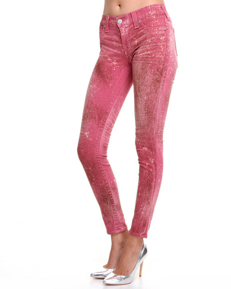 Djp Outlet - Women Pink True Religion Halle Paint Splatter Super Skinny Jean