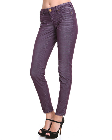 DJP OUTLET - Women Purple Shannon Corduroy Skinny Jean