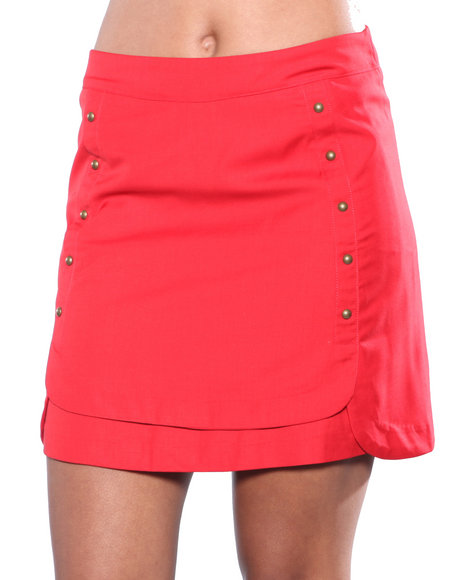Djp Outlet - Women Red Edition Button Skirt
