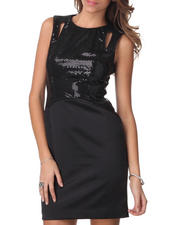 Women - Cut-Out Shoulder Sequin Satin Sheath