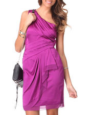 Women - 1 Shoulder Chiffon Ruffle Trim Satin Dress by Vince Camuto