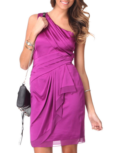 Djp Outlet - Women Purple 1 Shoulder Chiffon Ruffle Trim Satin Dress By Vince Camuto