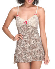 Holiday Shop - Women - Jersey Knit Metallic Foil Lace Trim Chemise