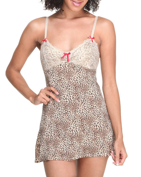 Drj Lingerie Shoppe - Women Animal Print Jersey Knit Metallic Foil Lace Trim Chemise