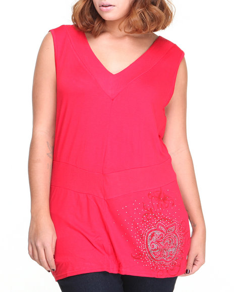 Apple Bottoms - Women Red Bridge Back Knit Sleeveless Top - $9.99