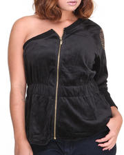 Plus Size - One Shoulder Velour Zip Active Jacket