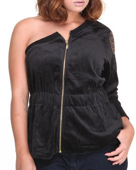 Apple Bottoms - One Shoulder Velour Zip Active Jacket
