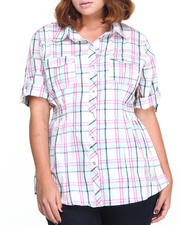 Apple Bottoms - Plaid Smocked Waist Shirt (Plus)