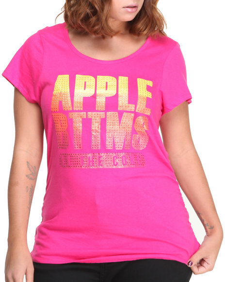 Apple Bottoms - Women Pink Apple Core Gradient Stones Logo Tee (Plus) - $8.99