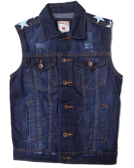 Arcade Styles - Boys Medium Wash Americana Denim Vest (8-20)