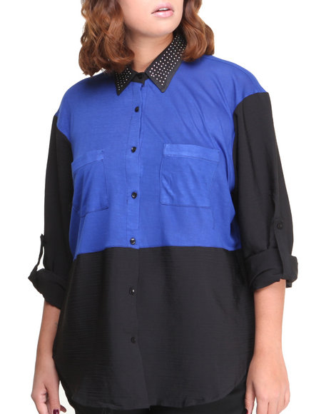 Apple Bottoms - Women Blue Studded Collar Colorblock Shirt (Plus)