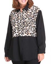 Apple Bottoms - Leopard Print Solid Colorblock Shirt (Plus)