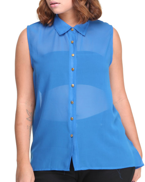 ALI & KRIS Blue S/L Chiffon Top (Plus Size)
