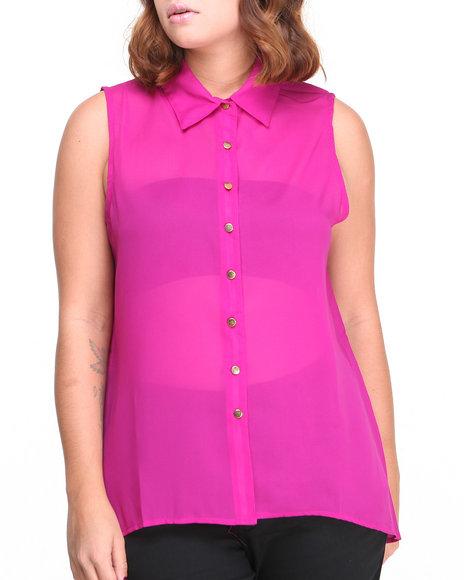 ALI & KRIS Pink S/L Chiffon Top (Plus Size)