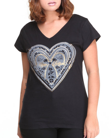 Apple Bottoms - Women Black Cage Back Heart Logotee (Plus)