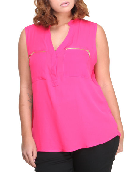 Ali & Kris - Women Pink S/L Zipper Pocket Chiffon Top (Plus)