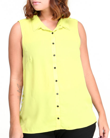 Ali & Kris - Women Lime Green,Black S/L Keyhole Stripe Back Chiffon Top (Plus) - $10.00
