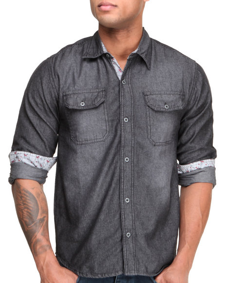 Basic Essentials - Men Black Solid Denim Woven Shirt