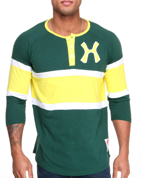 Hudson Nyc - Men Green N Y C Wide - Stripe L/S Raglan Henley
