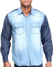 Button-downs - Color Block Denim Woven Shirt