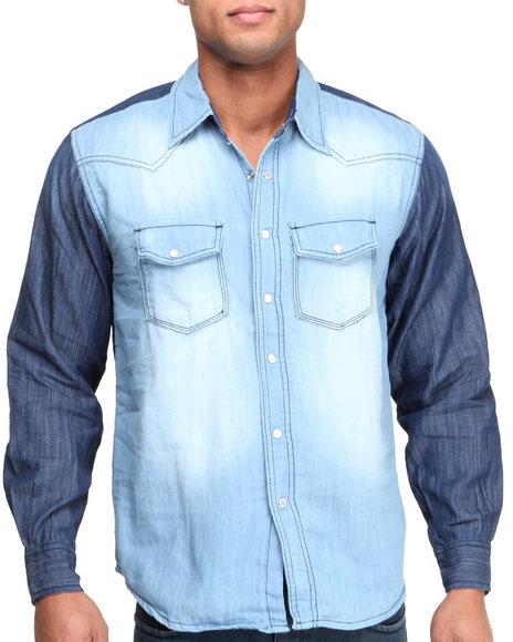 Basic Essentials - Men Medium Wash Color Block Denim Woven Shirt