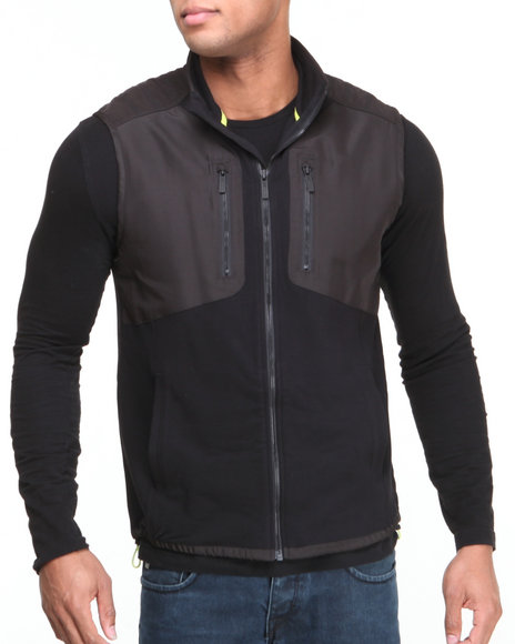Calvin Klein - Men Black Mixed Media Fleece Vest
