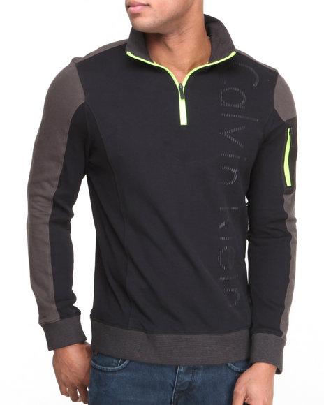 Calvin Klein Black Long Sleeve 1/4 Zip Logo Fleece W/ Neon Accents