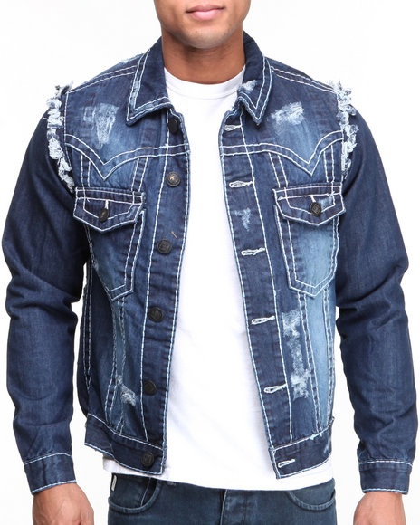 Basic Essentials - Men Indigo Thick Stitch Denim Jacket