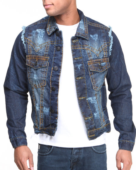 Basic Essentials - Men Vintage Wash Thick Stitch Denim Jacket