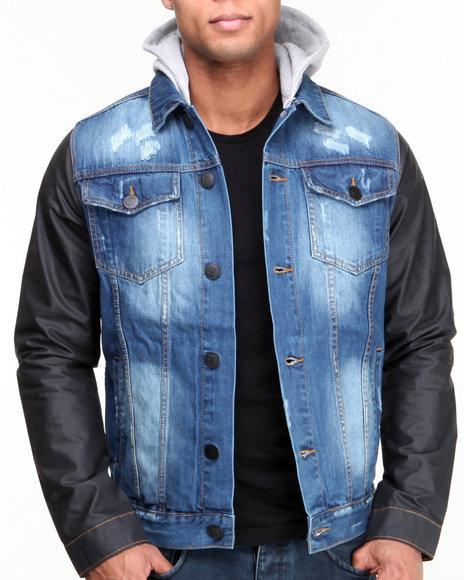 Basic Essentials - Men Black,Medium Wash Waxed Sleeve Denim Jacket