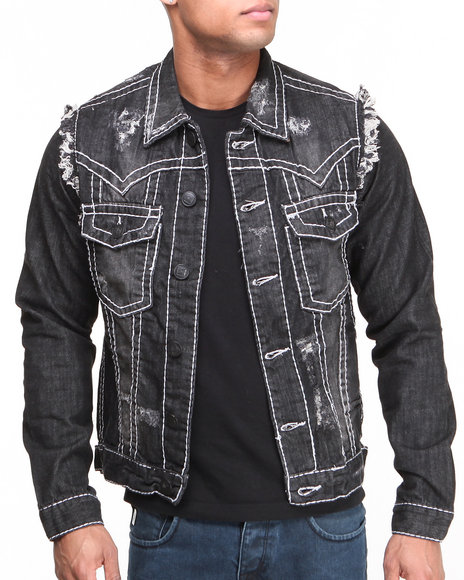 Basic Essentials - Men Black Thick Stitch Denim Jacket