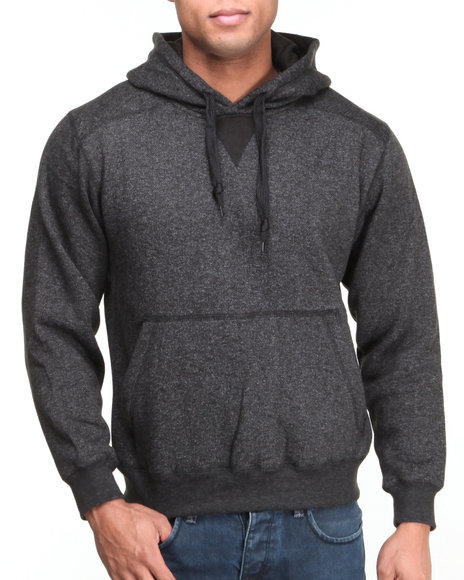 Basic Essentials - Men Black Pullover Marled Hoodie