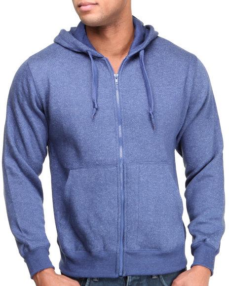 Basic Essentials Blue Full Zip Marled Hoodie