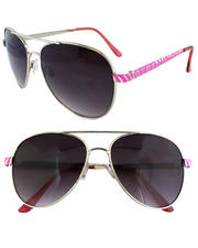 Women - Color Aviator Metal Trim Sunglasses